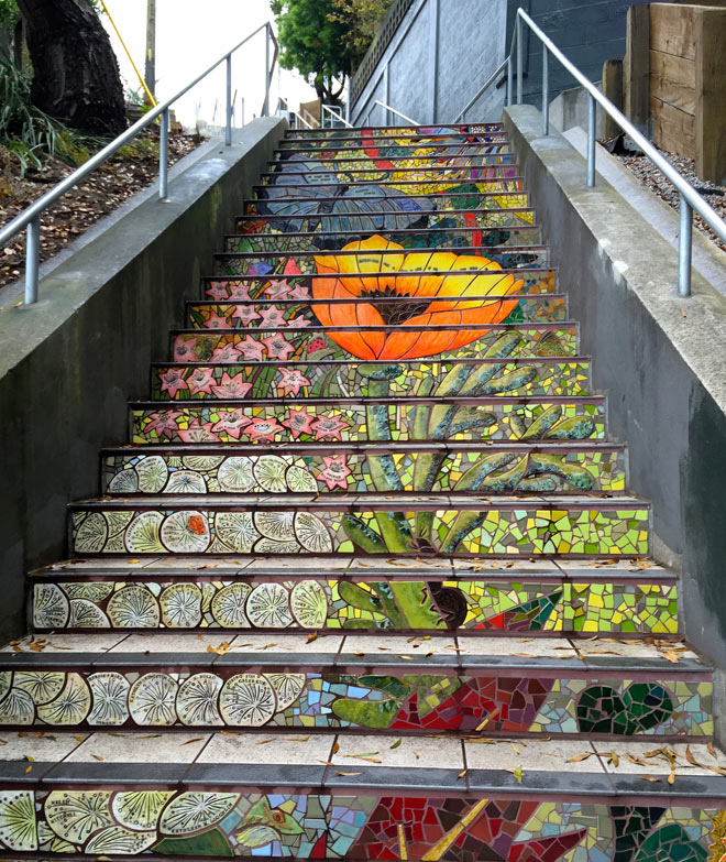 Photo of a mosaic stairway